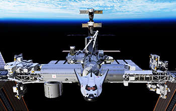 Rendering of SNC's Dream Chaser Docked to the ISS