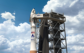 Rendering of SNC's Dream Chaser atop ULA Atlas V Rocket on Space Launch Complex 41