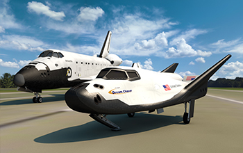 Rendering of SNC's Dream Chaser with NASA Space Shuttle Atlantis