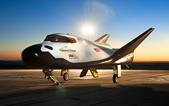 SNC's Dream Chaser On Runway at NASA's Dryden Flight Research Center at Dawn (Profile)