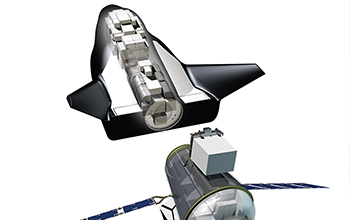 Rendering of SNC's Uncrewed Dream Chaser with Cargo Module and visible cargo