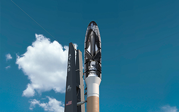 Rendering of SNC's Dream Chaser Cargo System Inside Cutaway Fairing on Launchpad