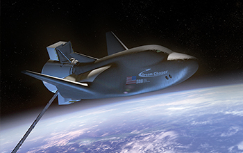 Rendering of SNC's Dream Chaser Spacecraft and Cargo Module In Orbit