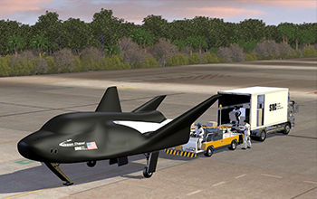 Rendering of SNC's Dream Chaser Cargo Spacecraft on Runway