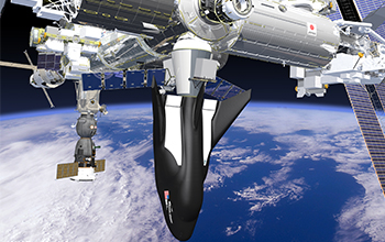 Rendering of SNC's Dream Chaser Spacecraft and Cargo Module Attached to the ISS