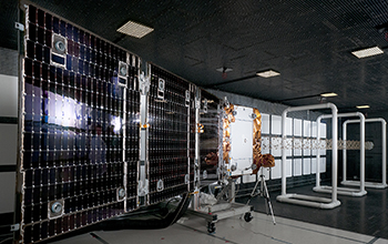 OG2 Spacecraft Fully Deployed in Radio Frequency Chamber