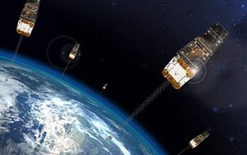 Rendering of Six SNC OG2 Satellites In low-Earth Orbit