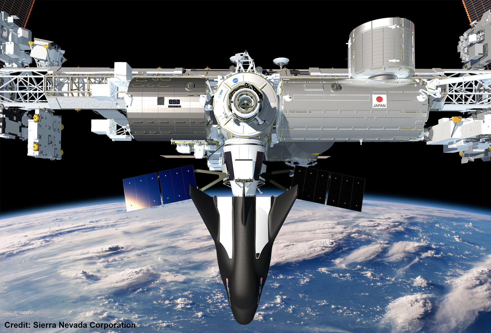 Rendering of SNC's <em>Dream Chaser®</em> Spacecraft docked to the International Space Station