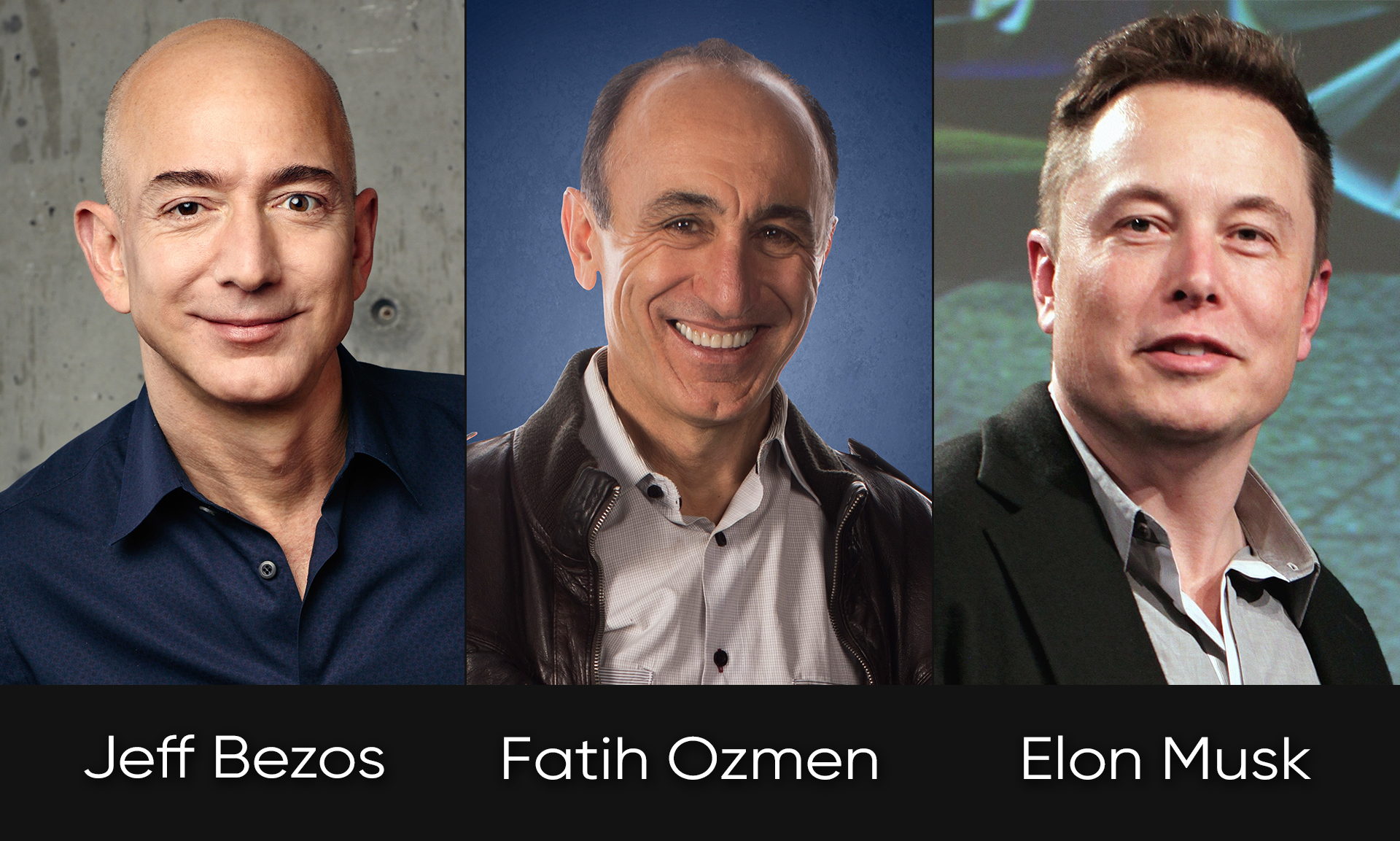 Sierra Nevada Corporation's Fatih Ozmen and New Space entrepreneurs Jeff Bezos, Elon Musk